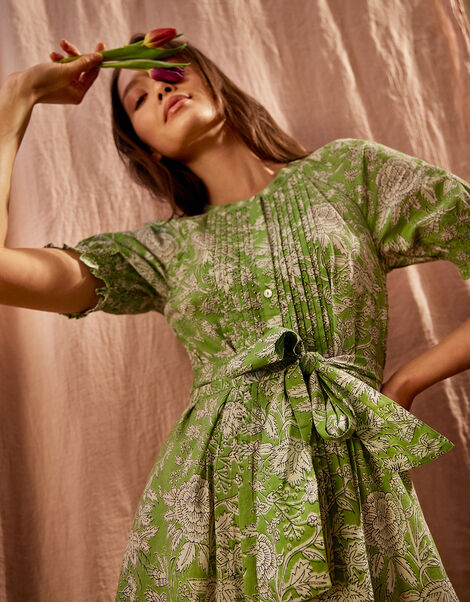Floral Belted Midi Dress Green, Green (GREEN), large