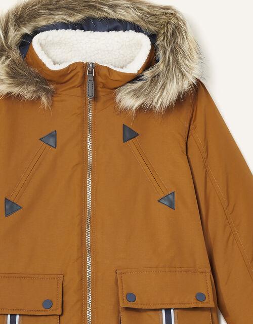Parka Reflective Tape Coat, Brown (BROWN), large