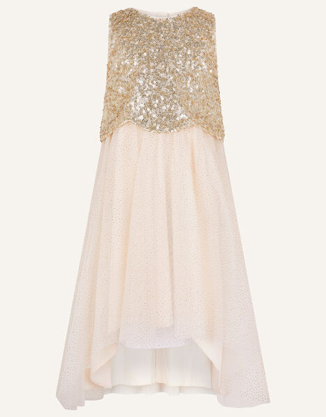 Sequin Scallop Dress  Gold, Gold (GOLD), large