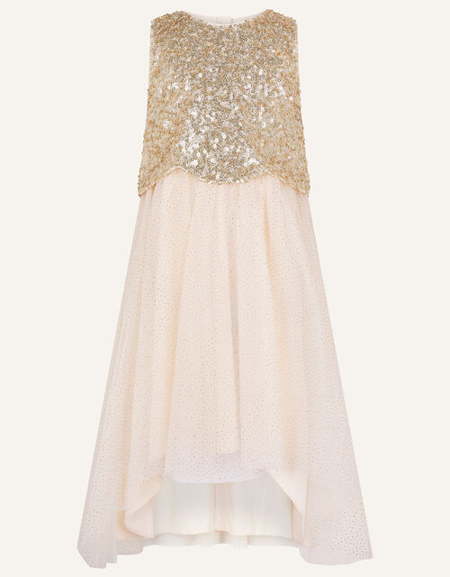 Sequin Scallop Dress , Gold (GOLD), large
