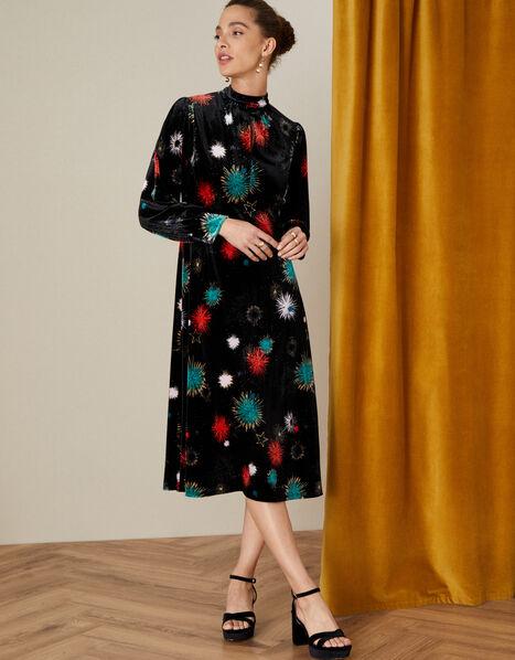 Saffron Starburst Midi Dress Black, Black (BLACK), large