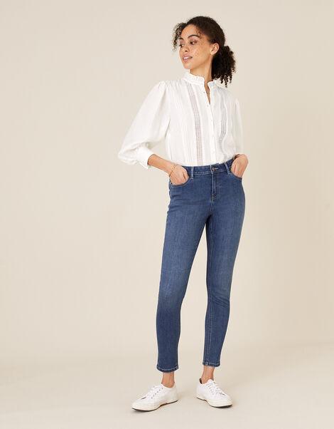Iris Short-Length Skinny Jeans Blue, Blue (DENIM BLUE), large