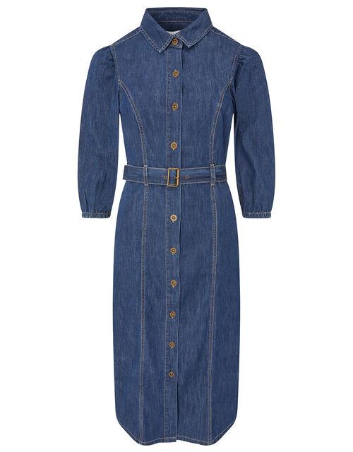 Belted Denim Midi Dress in Organic Cotton, Blue (DENIM BLUE), large