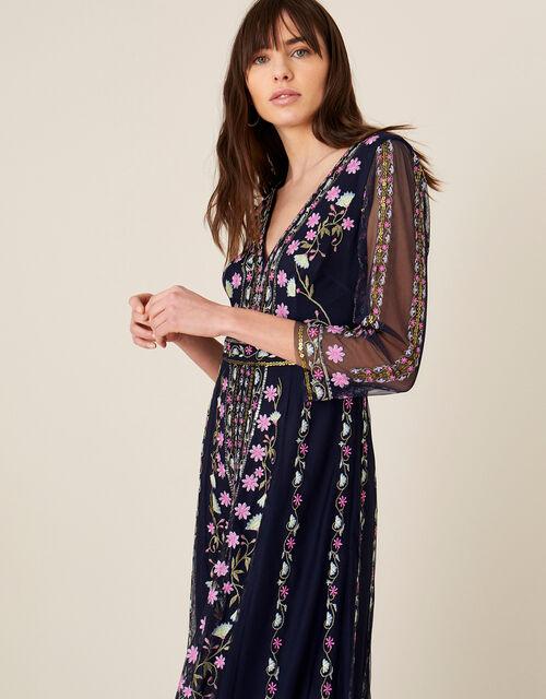 ARTISAN Amara Embroidered Midi Dress, Blue (NAVY), large