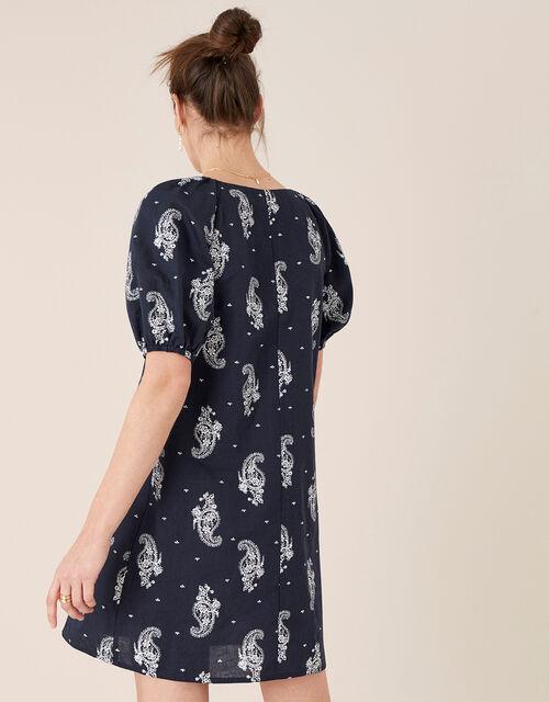 Heritage Print Dress in Linen Blend, Blue (NAVY), large
