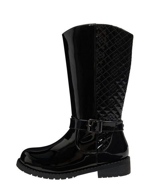 Bernadette Buckle Riding Boots, Black (BLACK), large