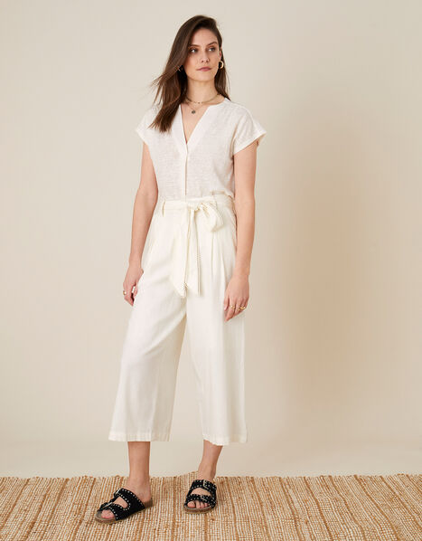 Scallop Crop Trousers in Linen Blend  White, White (WHITE), large