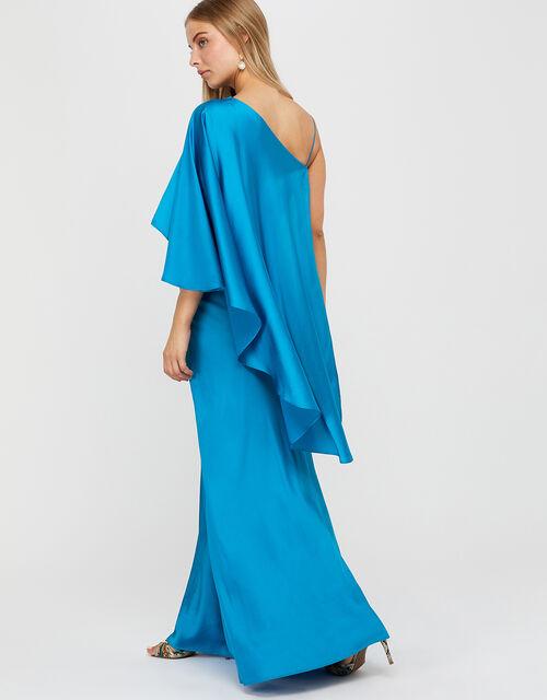 Cobie Satin Cape Maxi Dress, Blue (BLUE), large