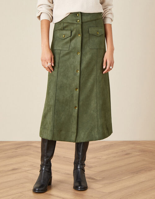 Button-Through Suedette Skirt, Green (GREEN), large