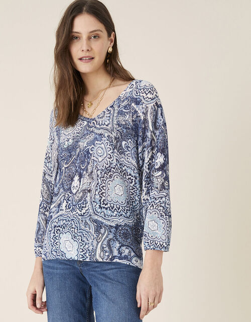 Paisley Print Jumper in Linen Blend, Blue (NAVY), large