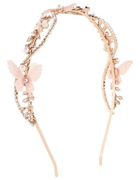 Diamante Butterfly Twist Headband, , large