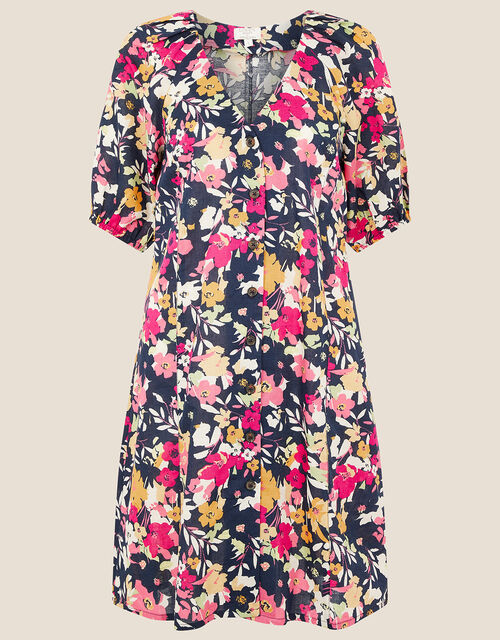Floral Dress in Linen Blend , Blue (NAVY), large