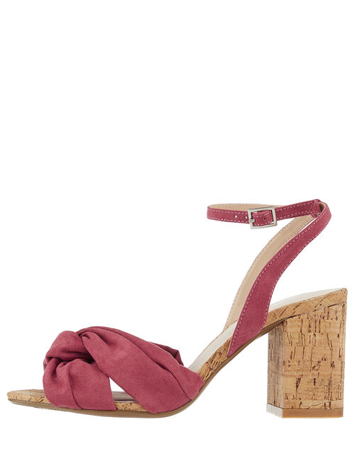 Tandy Twist Heeled Sandals, Red (BERRY), large