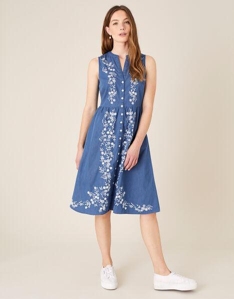 Floral Embroidered Dress Blue, Blue (DENIM BLUE), large
