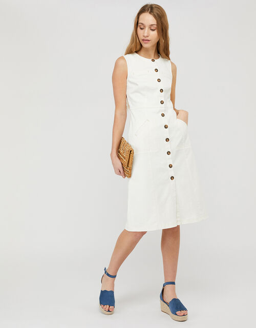 Elektra Slim Denim Midi Dress with Recycled Cotton, Ivory (IVORY), large
