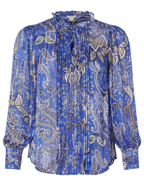 Paisley Print Pintuck Blouse, Blue (COBALT), large