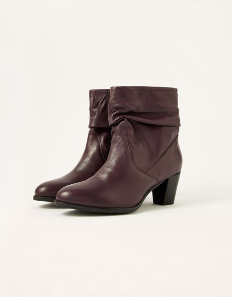 Shona Slouch Leather Ankle Boots Red, Red (BURGUNDY), large