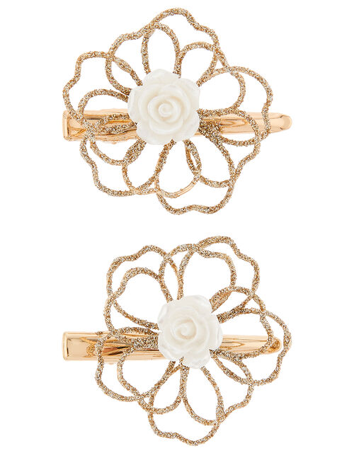Amelia Wire Flower Hair Clips, , large