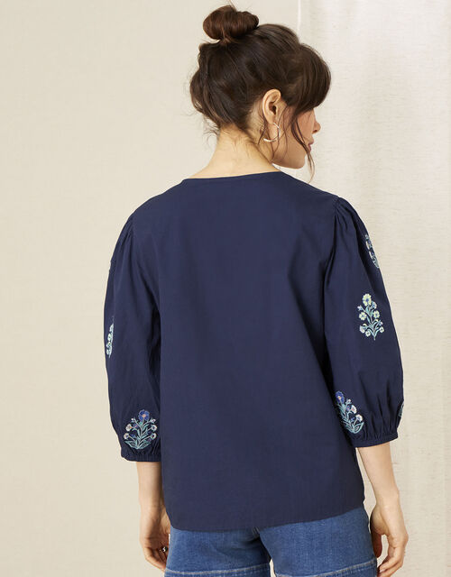 Embroidered Top in Organic Cotton, Blue (NAVY), large