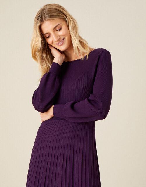 Slash Neck Scallop Dress , Purple (PURPLE), large