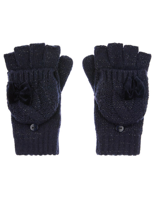 Sparkle Bow Capped Gloves with Recycled Fabric, Blue (NAVY), large