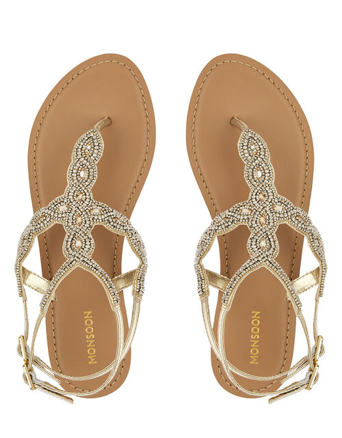Gabby Embellished Metallic Sandals, Gold (GOLD), large