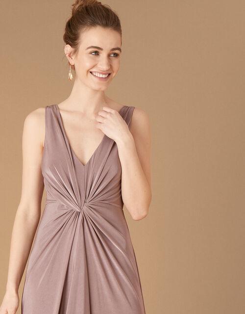 Jessie Jersey Twist V Neck Maxi Dress, Brown (MOCHA), large