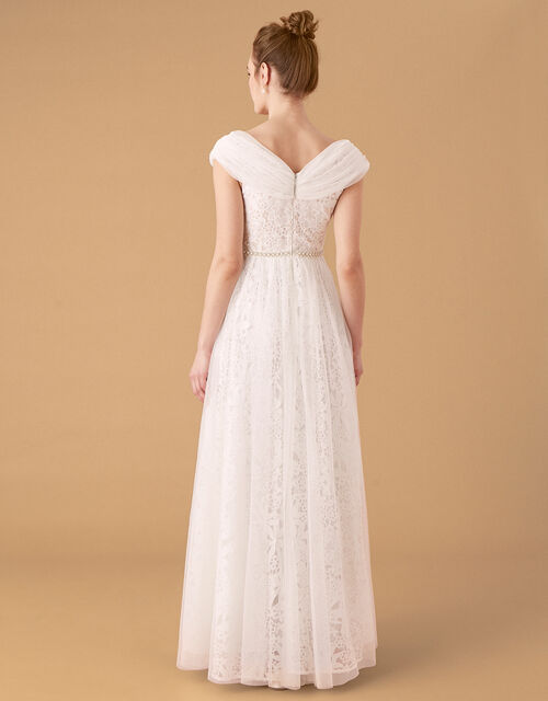 Laurie Lace and Tulle Bardot Bridal Dress, Ivory (IVORY), large