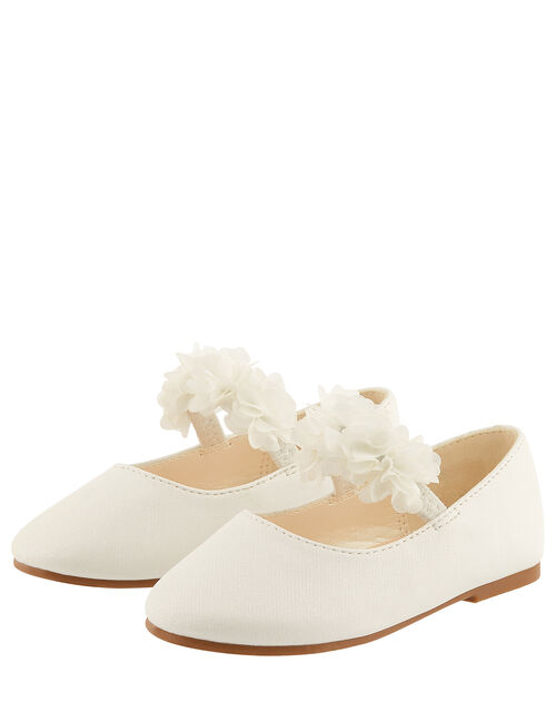 Baby Cynthia Corsage Walker Shoes, Ivory (IVORY), large
