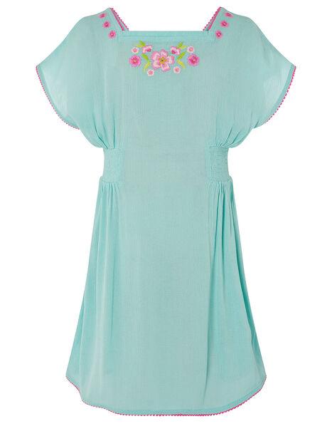 Floral Embroidered Kaftan Dress Blue, Blue (TURQUOISE), large