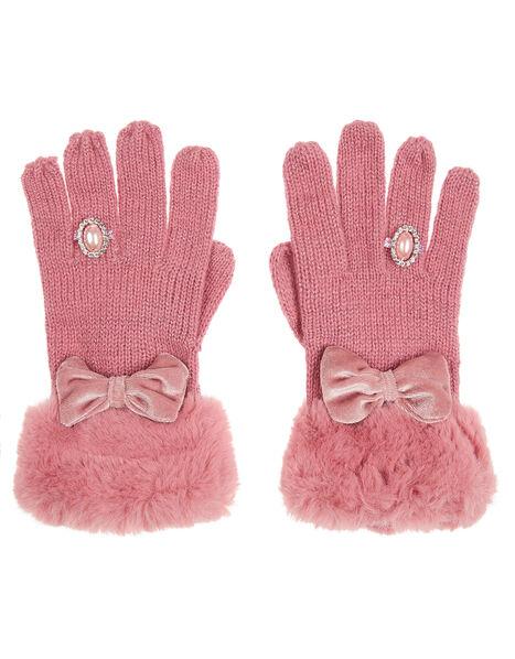 Bow Diamond Ring Knit Gloves Pink, Pink (PINK), large