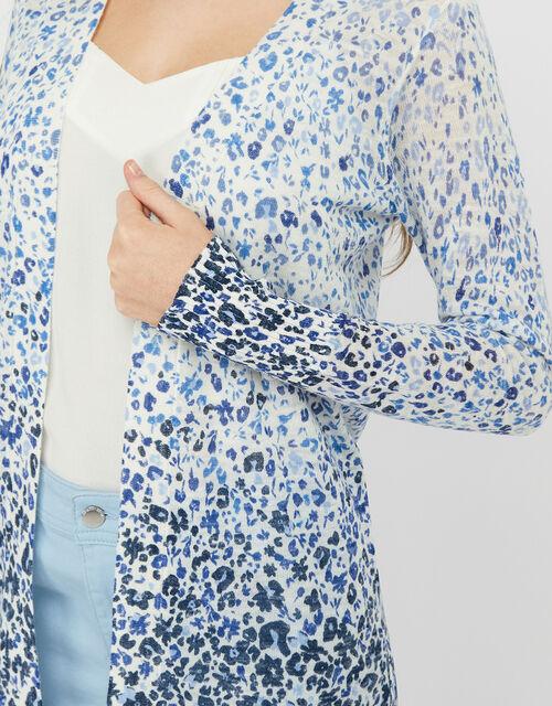 Poppy Floral Longline Cardigan in Linen Blend, Blue (BLUE), large