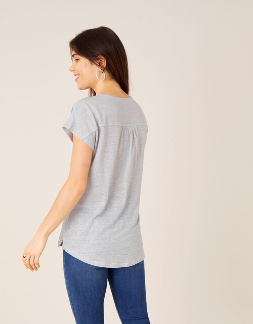Split T-Shirt in Pure Linen, Grey (GREY), large