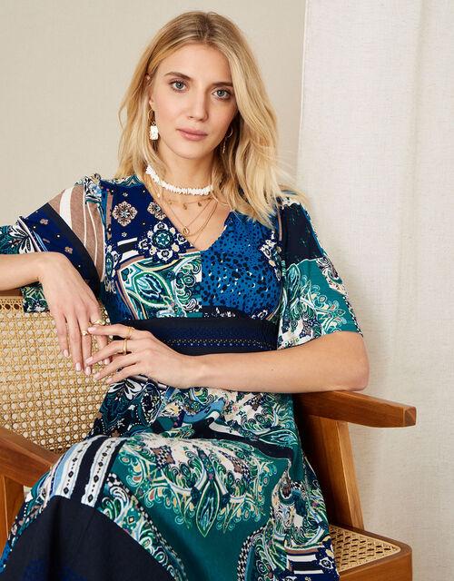 Hartley Mix Print Hanky Hem Dress, Blue (NAVY), large