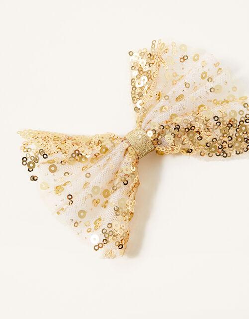 Mariposa Sequin Bow Hair Clip, , large