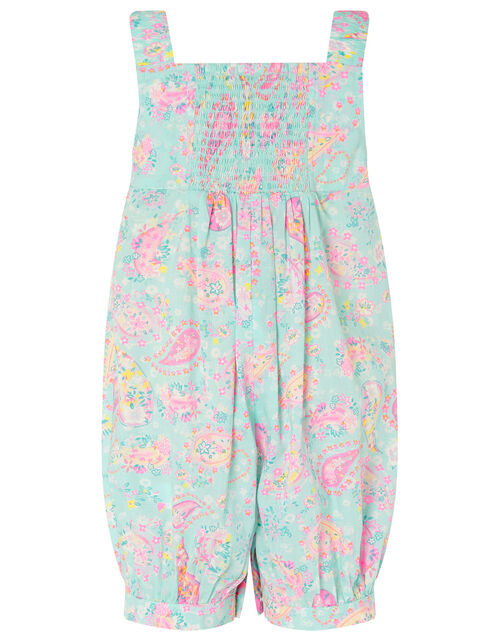 Baby Paisley Romper in Organic Cotton, Blue (TURQUOISE), large