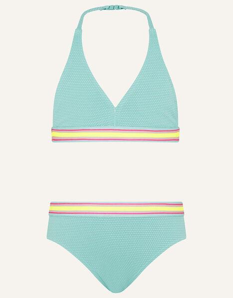 Sporty Textured Bikini Set Blue, Blue (TURQUOISE), large