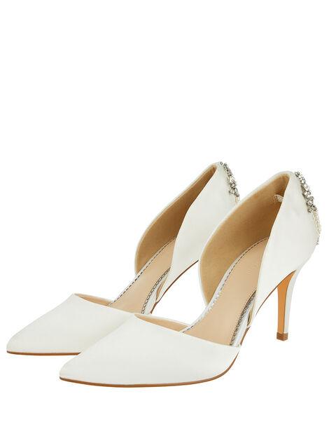 Evie Satin Bridal Court Shoes with Embellishments Ivory, Ivory (IVORY), large