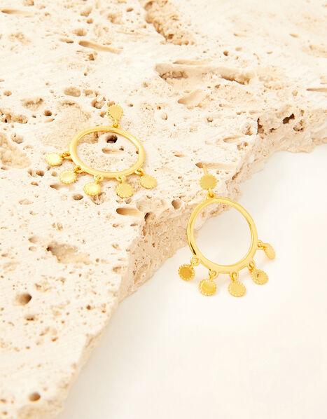 Gold-Plated Trim Detail Hoop Earrings, , large