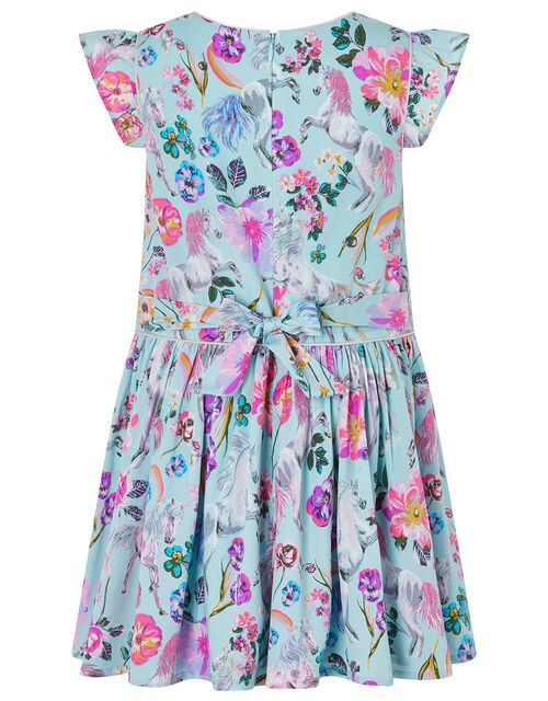 Armelle Unicorn Print Dress in Recycled Polyester, Blue (AQUA), large