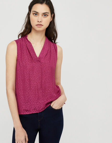 Winnifred Leopard Front Sleeveless Top Pink, Pink (PINK), large