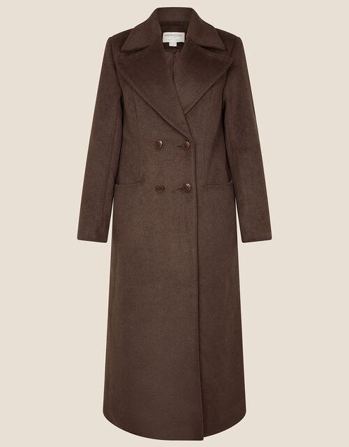 Bea Pea Coat in Wool Blend, Brown (CHOCOLATE), large