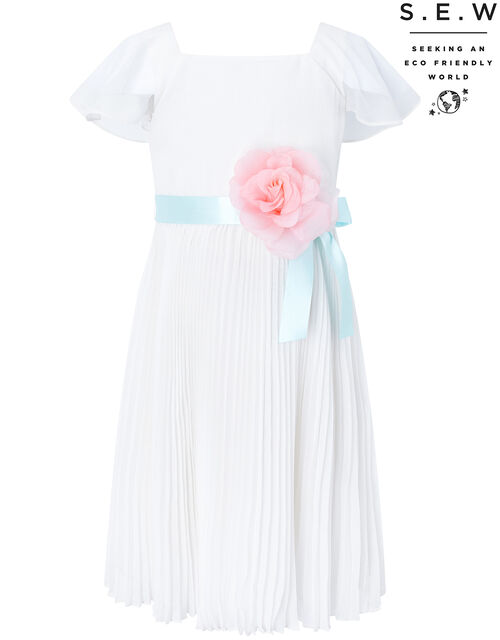 Lexis Pleated Occasion Dress in Recycled Polyester, Ivory (IVORY), large