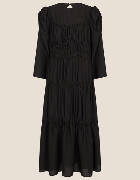 Penny Tiered Midi Dress Black, Black (BLACK), large