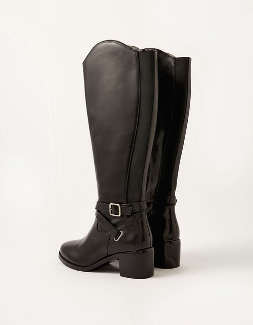 Lisa Leather Buckle Riding Boots, Black (BLACK), large