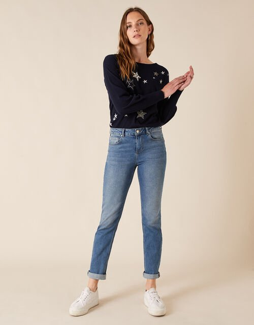 Sparkle Star Knit Jumper with Recycled Fabric, Blue (NAVY), large