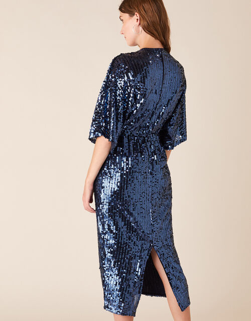 Symba Sequin Twist Midi Dress, Blue (NAVY), large