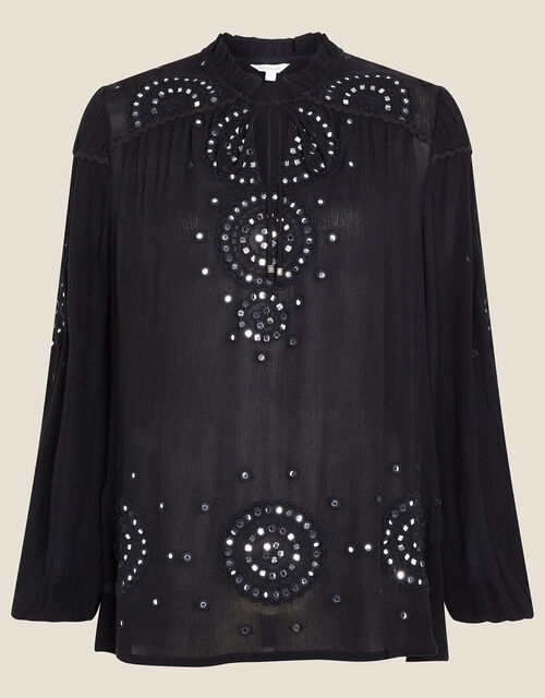 Mirrorwork Blouse in LENZING™ ECOVERO™, Black (BLACK), large