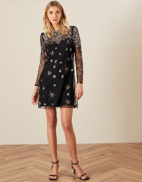 Kate Sequin Starburst Dress Black, Black (BLACK), large