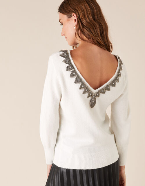 Beaded V-Back Knit Jumper, Ivory (IVORY), large